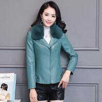 皮衣外套女2018新款冬季韩版时尚毛领皮衣短款修身显瘦加棉夹克