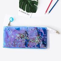 雷射笔袋流沙透明少女心网红铅笔盒笔带韩国可爱创意小清新文具盒