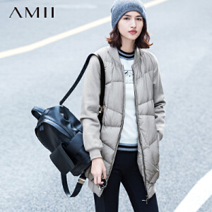 AMII[极简主义]冬棒球衣立领呢料拼接中长款大码羽绒11541266