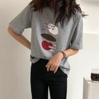 三木子快时尚女装~2019新款夏季韩版百搭字母图案印花圆领短袖T恤