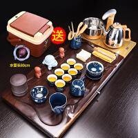 唐丰黑檀木茶具套装家用整块茶盘全自动烧水壶简约陶瓷茶器整套