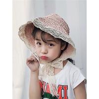 亲子夏季母女童草帽系绑带甜美遮阳凉帽渔夫帽儿童草帽女沙滩帽