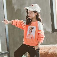 女童春秋季长袖上衣2019新款韩版女童秋装洋气小女孩宽松卫衣