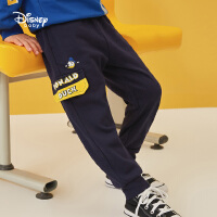 超品日【3件3折】迪士尼男童工装裤子2021春装新款洋气童装儿童宝宝卡通针织长裤潮
