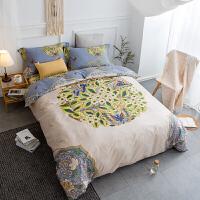 被套四件套全棉 简约200x230春夏季床上家纺床单定制 米白色 花间意