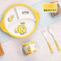 W竹纤维儿童餐具吃饭辅食碗宝宝餐盘婴儿分格卡通饭碗叉子勺子套装O
