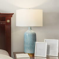 美式乡村复古创意蓝色陶瓷台灯简约床头卧室布艺艺术装饰台灯 蓝色 D34*H62CM 按钮开关 图片色