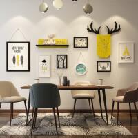 实木照片墙现代简约免打孔相片墙客厅背景墙相框墙餐厅卧室挂墙组合欧式带时钟带置物架 7框黑白款自然主义+钟表+置物架