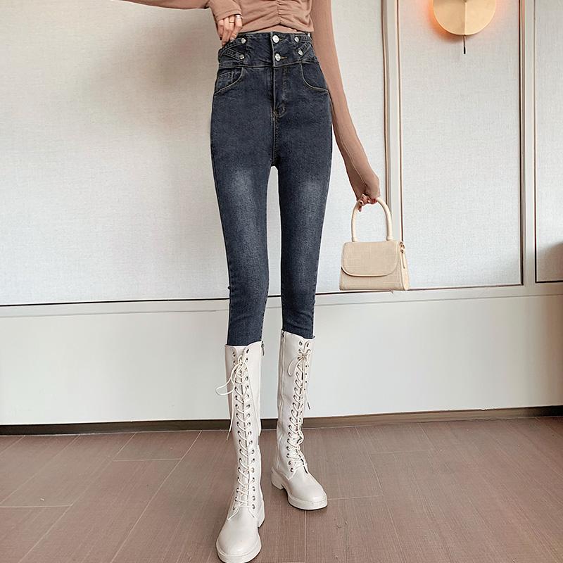 复古牛仔裤女紧身小脚裤子显瘦高腰百搭春款春装2020新款3609