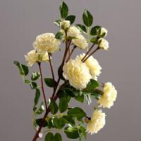 家居装饰品客厅餐厅茶几花瓶插花花艺仿真花假花多头玫瑰花枝摆设 白色