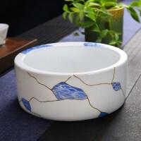 唐丰玉白瓷茶洗描金茶杯收纳碗家用青花洗茶碗收口笔洗茶道配件