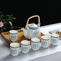 * 提梁�夭杈咛籽b家用��s陶瓷茶�夭璞�整套酒店�店公司��� 白色 茶字+竹托�P 7件