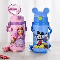 迪士尼保温杯 不锈钢儿童吸管水壶 440ML 防漏背带保温水壶 卡通吸管保温杯
