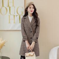 格子毛呢外套女中长款加厚2018冬季新款韩版复古修身加棉呢子大衣 咖啡色 驼色