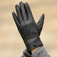 皮手套男士绵羊皮手套时尚搭扣秋冬薄款加绒厚冬季开车骑行