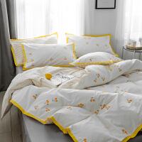 宽边彩色全棉四件套 樱桃棉床上用品床单床笠学生宿舍1.8 2.0m(6.6英尺)床 床单款套件