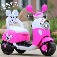 电动脚踏车儿童米奇摩托车三轮车电动童车宝宝可坐玩具车小木兰电瓶车QL-77