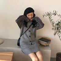 春装韩版女装无袖背心马甲高腰短裙+复古格子衬衫两件套针织套装