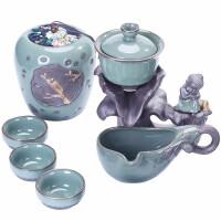 唐丰创意懒人自动茶具陶瓷旋转过滤可养开片石磨茶器现代功夫茶道