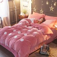 新品纯色珊瑚绒四件套韩版法莱绒加厚法兰绒1.8m床品套件床单冬季被套定制 双面法莱绒波点 豆沙 2.0m(6.6英尺)
