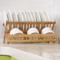 【可折叠】 沥水架碗碟架 厨房家用洗碗架双层碗碟收纳架沥水篮晾碗架竹制碗盘架置物架 双层碗碟架