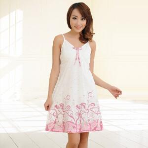 睡衣金丰田女士夏季吊带睡裙 可爱蝴蝶结V领无袖睡裙1731