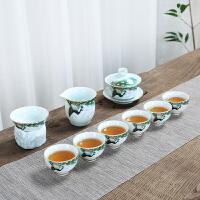 【好店】德化功夫茶具套装简约青瓷描金整套茶具办公室家用茶备泡茶器喝茶