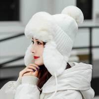 雷锋帽女韩版毛线帽秋冬季防寒保暖护耳毛绒可爱东北帽