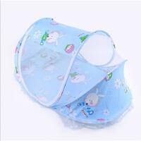 罩宝宝蒙古包免蚊帐安装可折叠有底婴儿童床蚊帐罩0-3岁 蓝兔 送棉枕音乐包