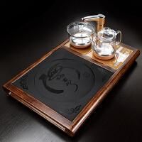 【新品热卖】功夫茶具实木茶盘套装家用简约乌金石陶瓷茶台全自动上水一体茶海
