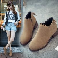 韩版新款英伦及踝靴百搭女靴平底短靴女鞋秋冬季马丁粗跟裸靴