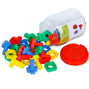 潜力 螺丝螺母配对 塑料积木拼接/拼装 儿童益智玩具 桶装