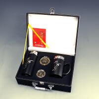 【优选】紫砂杯保温杯 刻字定制 车载杯子男女水杯商务礼品便携茶杯 皮盒装 对杯 瑞士