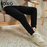 【特价】GXG男装 2021春季小蜜蜂刺绣黑色运动休闲裤GY102372GV