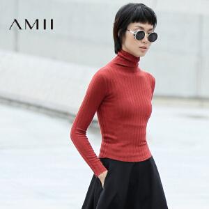 AMII[极简主义]冬新百搭修身高领显瘦坑纹长袖毛衣1164