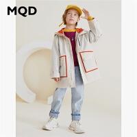 MQD童装男童2019新款中长款连帽风衣外套秋装中大童夹克风衣韩版