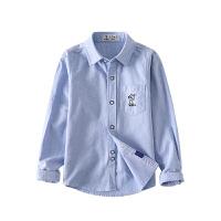 儿童休闲衬衣2019春秋新款男童白衬衫长袖棉中小童衬衣