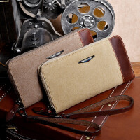 男士钱包长款钱夹男包手拿包复古多卡位钱包帆布包