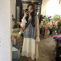 桔梗马甲毛衣配裙子两件套装气质山本风初恋复古法式少女连衣裙秋 图片色