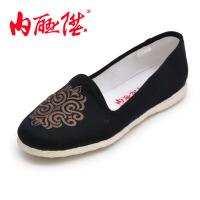 内联升 手工千层底女鞋 毛料民族绣花月舌 北京布鞋 8267A