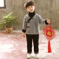 儿童唐装套装冬季小孩女童宝宝周岁新年装男童中国风加厚古装汉服MYZQ73