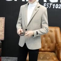 小西装男士秋冬季新款韩版修身短款加绒加厚西服男潮流帅气外套男