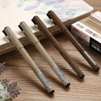 得力S46原木系列中性笔 碳素黑笔0.38mm细水笔财务签字笔 12支装