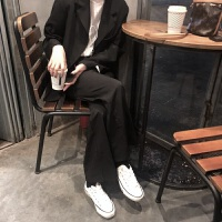 英伦风西装两件套春季chic纯色中长款外套+垂感高腰拖地阔腿裤女