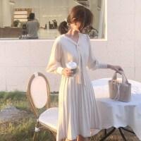 2018秋冬女装新款收腰显瘦气质长袖针织连衣裙内搭甜美毛衣打底裙 杏色