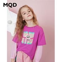 MQD童装女童T恤2020春季新款儿童字母拼接假两件T恤圆领落肩上衣