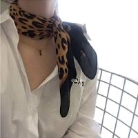 2019春秋韩国chic波点豹纹女士围巾百搭气质蝴蝶结系脖搭配丝巾