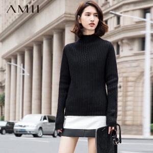 【品牌团 1件7折/2件5折】AMII[极简主义]冬新品修身大码高领肌理拼接纯色毛衣11592129