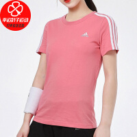 Adidas/阿迪达斯短袖女新款圆领舒适透气时尚休闲T恤三条纹运动服GL0787