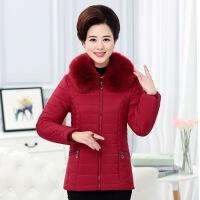 中年女装冬装羽绒棉衣短款中老年40-50岁妈妈外套毛领棉袄衣服厚 红色 拍下送退换货无忧